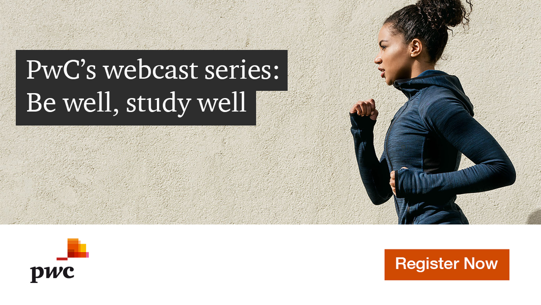 Event PwC PwC's webcast series: Be well, study well header